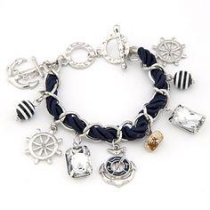 Sailor Fashion Anchor Boat Rudder Wheel Charm Bracelet Silver Color $18.20