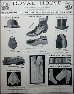 PUBLICITÉ ADVERT  HATS  MODE VÊTEMENT ROYAL HOUSE CHAPEAUX BOTTES  AD 1906