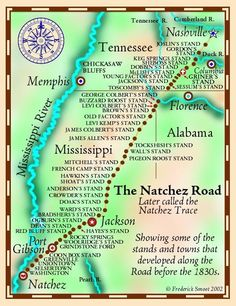Map / Natchez Trace Parkyway - Nationalpark in Mississippi Rv Travel, Places To Travel, Travel Destinations, Camping Places, Travel Tips, The Places Youll Go, Places To See, Natchez Mississippi, Mississippi Queen