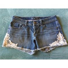 Side Lace Denim Shorts Add a little style to your outfit with these lace trim denim shorts!! Maurices Shorts Jean Shorts