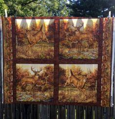 Wildlife Fabric Panel Fall Decorations Deer Rustic Pillow Craft Material Destash Sewing Hautman