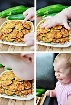 Baked Parmesan Zucchini Rounds ~ you're just 2 ingredients away from a quick and easy, delicious summer side dish! | FiveHeartHome.com Zucchini Rounds, Zucchini Side Dishes, Bake Zucchini, Zucchini Bites, Veggie Dishes, Zuchinni Recipes, Vegetable Recipes, Vegetarian Recipes, Cooking Recipes