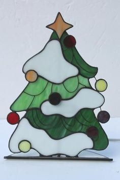 Stained Glass Christmas Tree Light Electric Candle Lamp Up Decoration