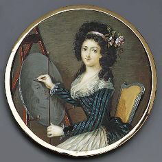 A young lady seated at an easel drawing a portrait, holding a pencil in her right hand and a wooden drawing line in her left hand, in blue and brown striped dress with striped fichu, lace cuffs and pleated white underskirt, pink ribbon and pink flower in her long curling hair, French School