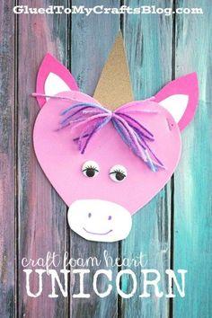 Craft Foam Heart Unicorn - Kid Craft Idea