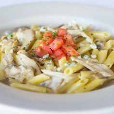 Another great gluten free dish from Johnny Carino's. Chicken Penne Gorgonzola: Penne sautéed with sliced grilled chicken, mushrooms and garlic in a creamy gorgonzola cream sauce with roma tomatoes. $15.49