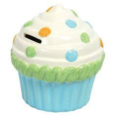 Stephan Baby Blue, Green, White, Orange Cupcake Ceramic Bank - Blue