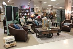 Nailhead accent Chair, Lamp Table, Sofa, round Coffee Table , Coffee Table on wheels, chic a stylish! Vintage farm house