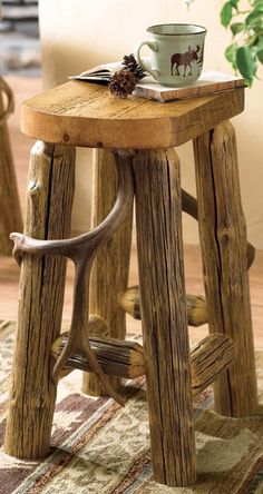 Rustic Log Bar Stool #log #homes