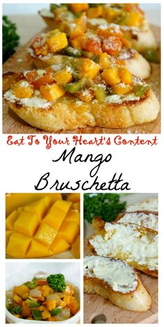 Here's a succulent recipe for bruschetta lovers! Mango Bruschetta Here's a succulent recipe for bruschetta lovers! Mango Recipes, Fruit Recipes, Vegan Recipes, Bread Recipes, Sandwich Recipes, Delicious Recipes, Easy Appetizer Recipes, Healthy Appetizers, Yummy Snacks