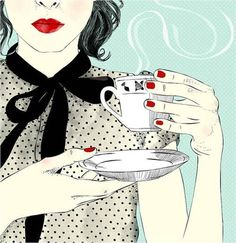 Afternoon coffee break, starring red lips and red nails.