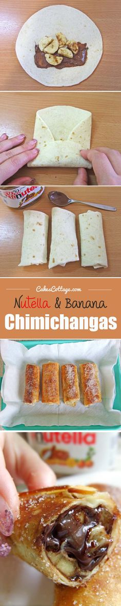 Nutella and Banana Chimichangas #chocolates #sweet #yummy #delicious #food #chocolaterecipes #choco