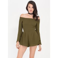 Ring My Bell Off-Shoulder Romper (1,635 INR) ❤ liked on Polyvore featuring jumpsuits, rompers, green, long-sleeve rompers, green romper, bell sleeve rompers, green rompers and brown romper