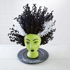 Create an easy DIY ghoulish Halloween decoration: Mrs. Frank Styrofoam® Head