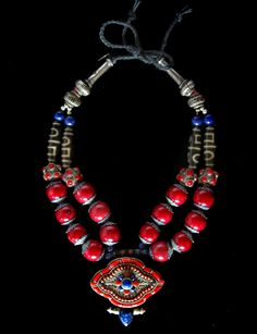 Red Tibetan Gao with Coral graphic