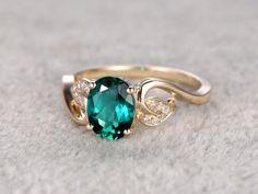 6x8mm Oval Emerald engagement ringDiamond wedding by popRing