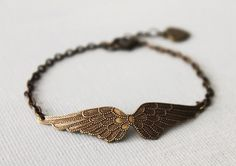 Angel Wing Bracelet.  brass ox Vicrorian angel by lunashineshine, $18.00
