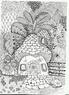 Féerie, maison champignon-like, libellule, zentangle. Efie goes Zentangle: art-tangle-club 95 . Adult Coloring Pages, Coloring Pages For Grown Ups, Colouring Pages, Printable Coloring Pages, Coloring Books, Zentangle Drawings, Zentangle Patterns, Zentangles, Colorful Drawings