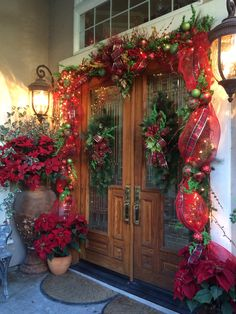 Love my front doors this Christmas.