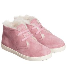 TOD'S Girls Pink Suede Sheepskin Ankle Boots