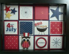 July Shadow Box - The squares are 1 3/4″ and the mats are 1 5/8″.