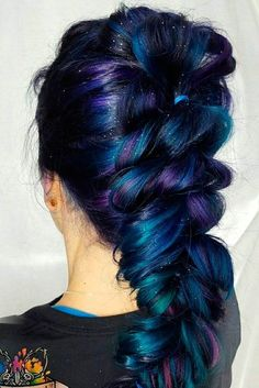 Best Purple and Blue Hair Looks ★ Galaxy Hair Dark Blue Hair, Purple Hair, Ombre Hair, Pastel Hair, Green Hair, White Hair, Dark Purple, Pastel Pink, Twisted Hair