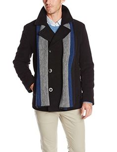 Kenneth Cole Men's Peacoat with Scarf