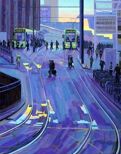 """Heading Home II"" Commuters heading home from East Croydon Station one evening. Croydon London, Photo Room, Photo Wall, Bus Art, Magazine Illustration, South London, London Art, Train Rides"