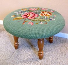 Whose family didn't have a needlepoint stool? Cross Stitching, Cross Stitch Embroidery, Cross Stitch Patterns, Diy Ottoman, Home Decoracion, Needlepoint Pillows, Granny Chic, Bargello, Stool