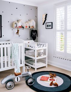 from Adore Aug/Sep minimal boy room Baby Bedroom, Baby Boy Rooms, Baby Boy Nurseries, Nursery Room, Kids Bedroom, Kids Rooms, Nursery Decor, Ideas Habitaciones, Bright Rooms