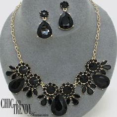 CLEARANCE CHUNKY BLACK GLASS CRYSTAL CASUAL WEDDING FORMAL NECKLACE JEWELRY SET