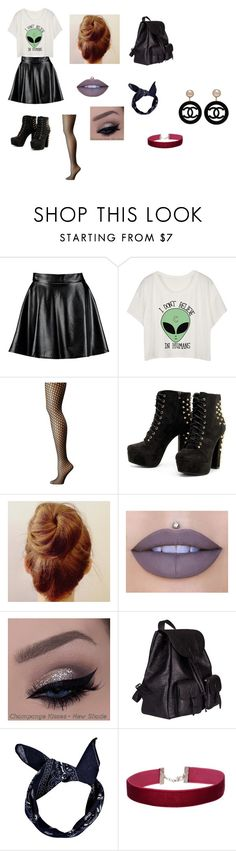 """""""Punk Outfit #2"""" by ebonyadelle2 on Polyvore featuring Boohoo, Wolford, Jeffree Star, Yves Saint Laurent, Miss Selfridge and Chanel"""