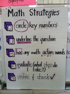 Timeouts and Tootsie Rolls: Test Prep strategies I like this one, because it doesn't emphasize the old key word strategy, which in today's standardized testing language might not always work Anchor Charts,Classro Maths 3e, Material Didático, Math Anchor Charts, Math Charts, Math Problem Solving, Math Words, Second Grade Math, Grade 3, Seventh Grade Math