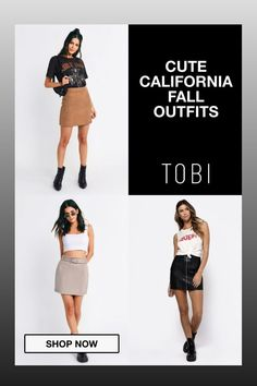Cute California fall outfits and trendy autumn casual attire for women from TOBI. The best place to buy affordable trendsetting edgy clothing like these cute skirts and tops for ladies. Shop top fall fashion trends for teens, women, and juniors. #shoptobi #fallfashion #falltrends #falloutfits #autumnfashion #womensfashion #californiafashion #casualoutfits Autumn Fashion Women Fall Outfits, Fall Fashion Trends, Fall Trends, Fashion 2017, Casual Attire For Women, Women's Casual, California Fashion, California Style, Edgy Outfits