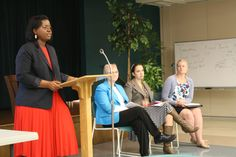 Kathryn Freeman, director of public policy at the Baptist General Convention of Texas' Christian Life Commission, moderates a panel discussion on human trafficking at First Baptist Church of Austin during an information session preceding a press conference on the steps of the Texas Capitol on Thursday, Feb. 12, 2015. From left to right: Freeman, Tomi Grover (TraffickStop.org), Eliza Reock (Shared Hope International), and Dixie Hairston (Children at Risk).
