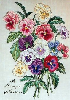 The Lilac Studio Botanical BOUQUET OF PANSIES ii 2 Flowers - Counted Cross Stitch Pattern Chart - Cindy Rice