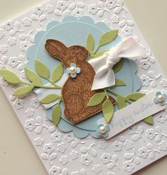 """handmade Happy Easter card (*bunny silhouette from Stampin' Up set """"Ears to You"""") ~ this would be very cute framed!   via bitsofme shop @ Etsy"""