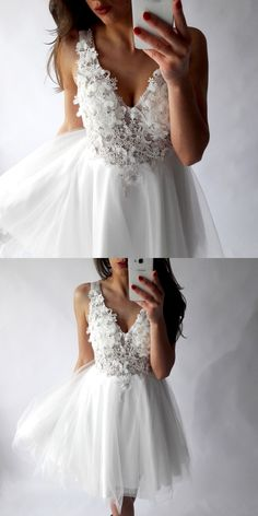 Homecoming dresses, simple white party dresses, dreamy homecoming dresses with appliqués, cheap fashion dresses.