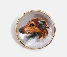 Antique Essex Crystal Collie Dog Brooch