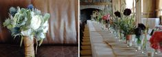 Love the burlap runner and mix of individual buds in tiny vases down the table!
