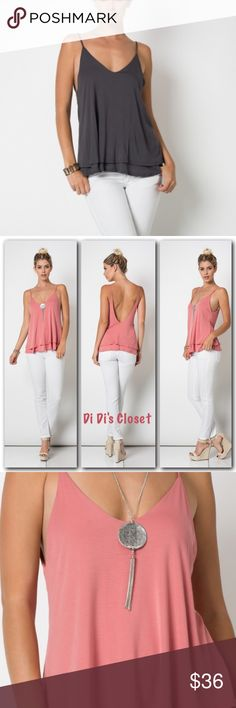 "Tiered spaghetti Strap Tank Gorgeous spaghetti strap tiered tank.  ⭐️95% Micromodal 5% Spandex ⭐️only the vintage gray is for sale- the pink is just for show ⭐️Measurements Given Upon Request ⭐️Deep V Back Trades/ or LowBall Offers *️⃣Price Firm Unless Bundled   (If ""applicable""this item includes sales tax  to the nearest mil') Tops Tank Tops"