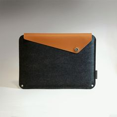 Slanted MacBook Pro Sleeve - Brown Leather w/ Charcoal Color Wool.