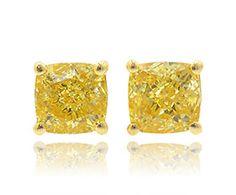 Fancy Intense Yellow Cushion Diamond Stud Earrings