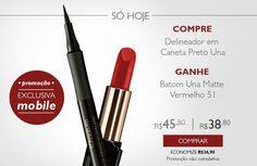 SÓ HOJE! !  Comprando online, pelo celular, o delineador em Caneta Preto da linha Una,  você ganha um Batom Una Matte Vermelho 51. Por R$ 38,80, aproveite já!  #natura #una #naturauna #maquiagem #maquiagemnatura #promoção #desconto #sohoje #redenatura #compreganhe #compraonline #chamenatura #delineador #batom  http://rede.natura.net/espaco/spacofabi/delineador-em-caneta-preto-una-1ml-34262