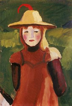Farmer Girl with Straw Hat ~ August Macke ~ (German: August Macke, Wassily Kandinsky, Cavalier Bleu, Maurice De Vlaminck, Blue Rider, Franz Marc, Kunst Online, Illustration Art, Illustrations