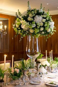 On Flowerona: Beautiful white and green wedding flower designs for and by Fabulous Flowers at Le Manoir aux Quat'Saisons. #weddingflowerarrangements