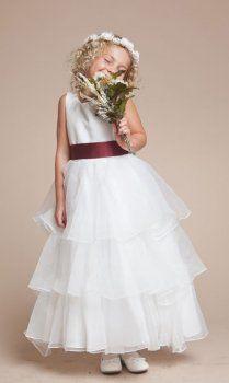 Princesa vestidos de niña de satén con organza falda de múltiples niveles