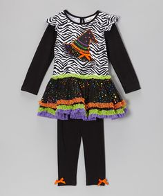 Look at this Rare Editions Black Zebra Witch Hat Tunic