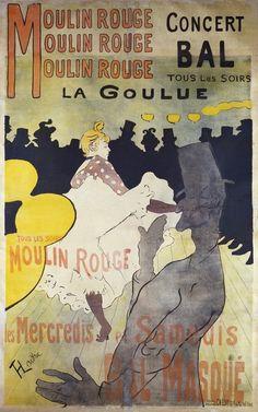 """""""Moulin Rouge, Concert Bal, La Goulue"""" by Henri de Toulouse-Lautrec (1891)."""