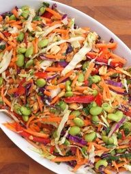 Asian slaw with ginger peanut dressing. Top with grilled salmon? Grilled Chicken?